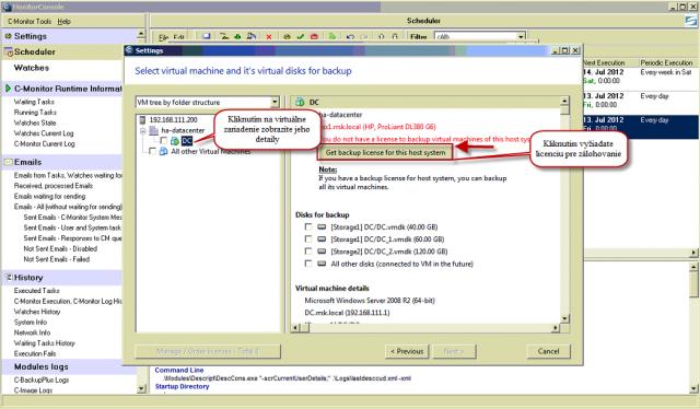 Detail virtuálneho stroja s možnosťou objednať licenciu pre zálohovanie