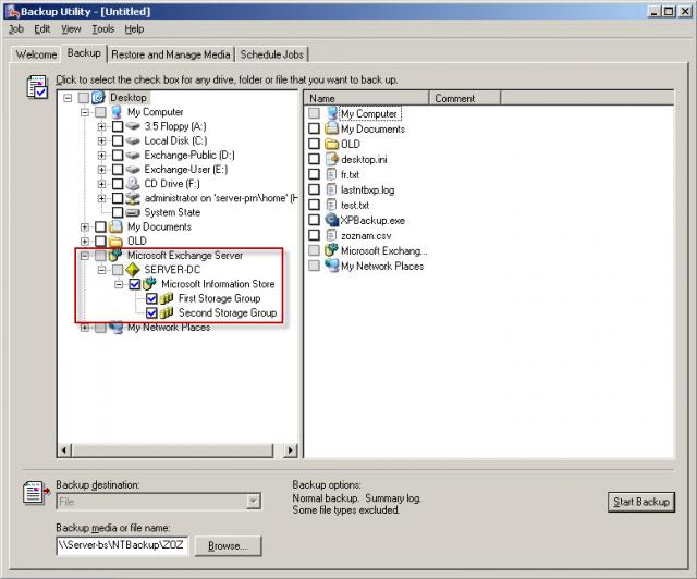 Výber súčasti pre zálohovanie Exchange servera